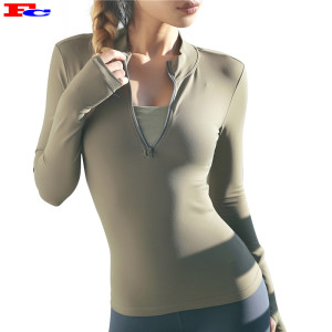 Wholesale Custom Jackets Women Gym Yoga Running Jacket Blank Half Zipped Jacket