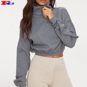 Custom Grey Rib Zip Front High Neck Long Sleeve Crop Top Buy Hoodies In Bulk