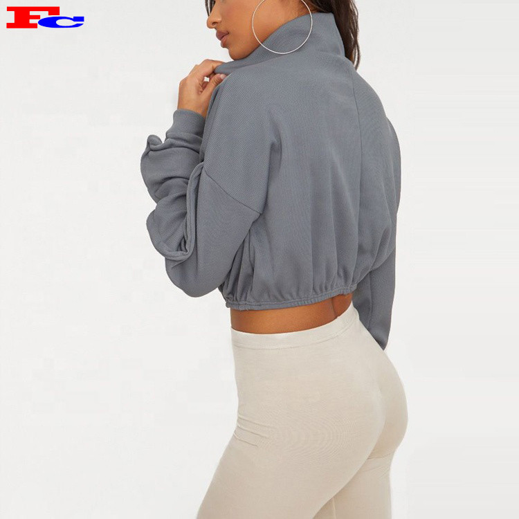 Custom Grey Rib Zip Front High Neck Long Sleeve Crop Top Buy Hoodies In Bulk