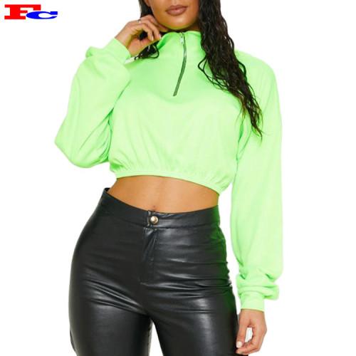 Neon Lime Rib Zip Front Long Sleeve Crop Top Sweater  Cheap Hoodies Wholesale