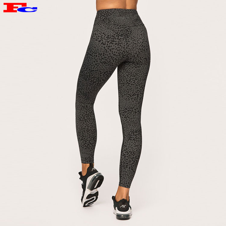Fashion Legging Wholesale High Waist Elastic Polyester Black Spot Digital Print Pattern