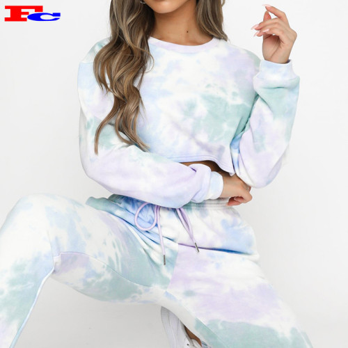 Custom Made Tracksuits Autumn French Terry Women Lounge Wear Tie Dye Crop Top