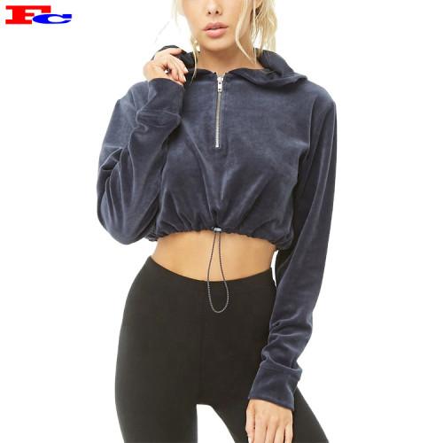 High Quality Custom Logo Good Plain Women Velvet Crop Top Hoodies In Bulk