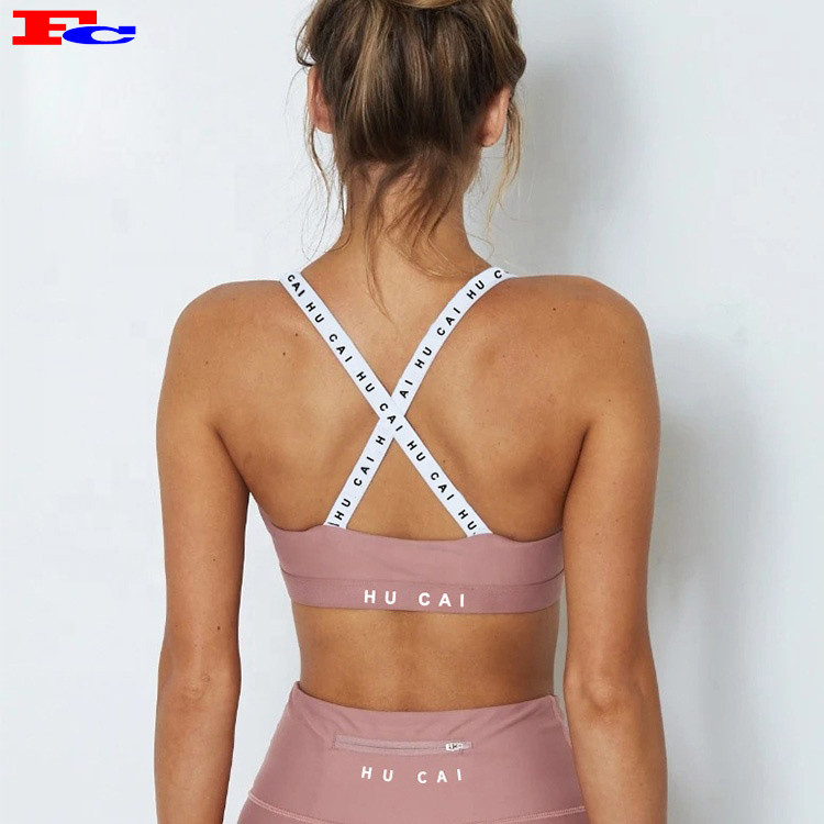 Custom Wholesales New design Logo On Straps Removable Private Label Women Yoga Sport Bras