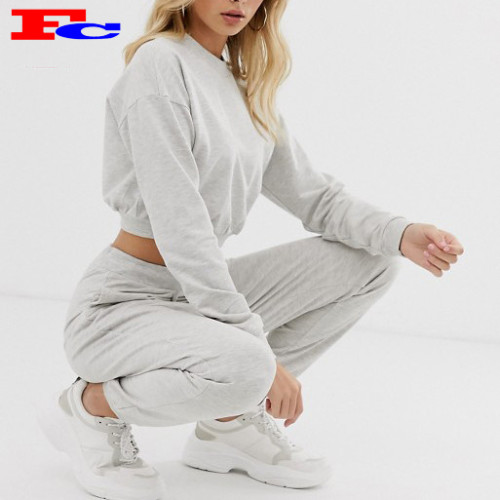 Wholesale Women's Tracksuits Custom Sweatsuit Crewneck Crop Top Two Piece Set