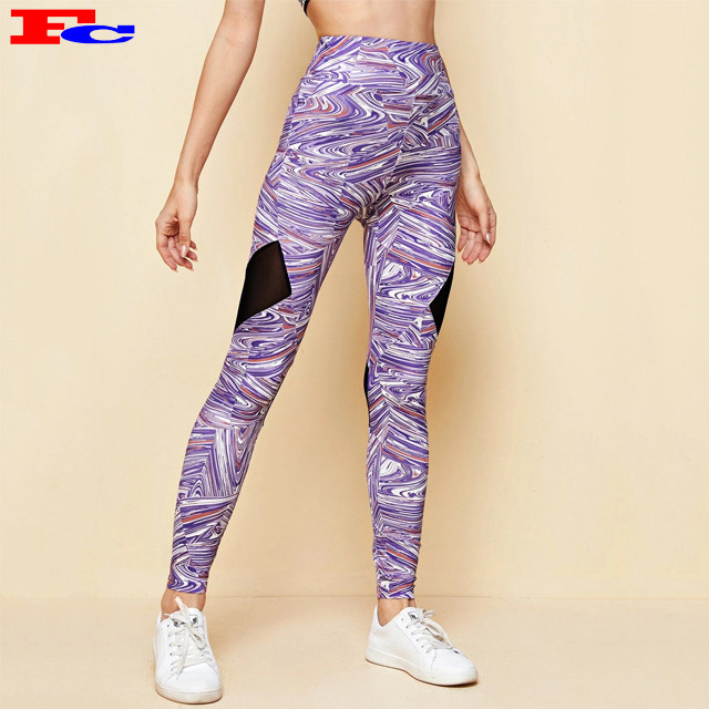Custom Printing High Waisted Workout Tights Mesh Womens Yoga Pants Fitness Leggings
