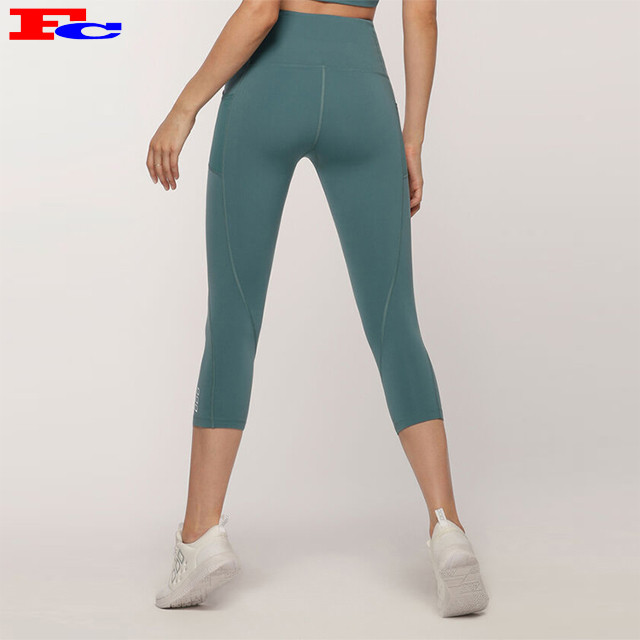 Women Gym Active Mesh Capri Leggings Fitness Tights With Pockets