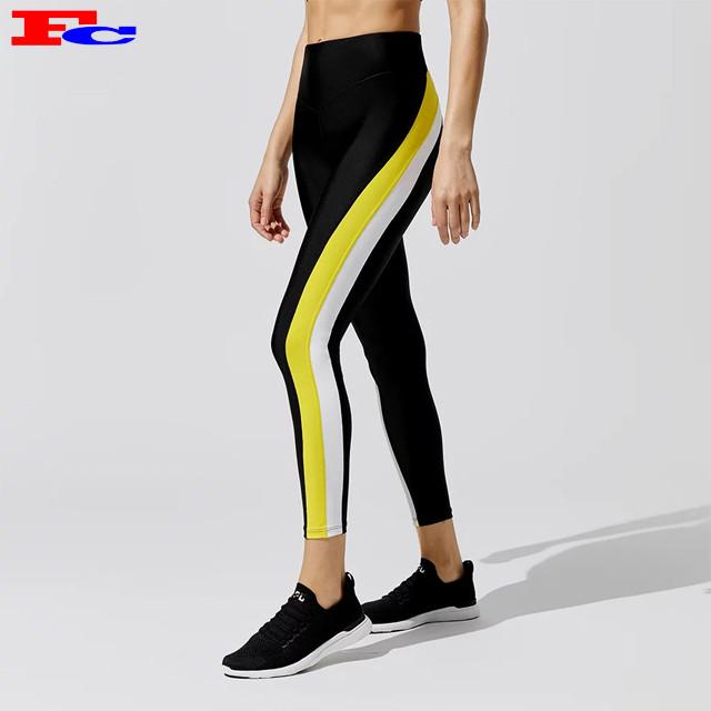Fashion Custom Logo Color-blocked High Waist Leggings Fitness Tights Exercise