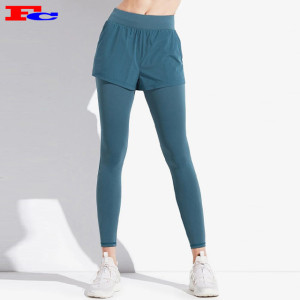 Hot Sale Quick Dry Two Layers Yoga Leggings Gym Tights Women