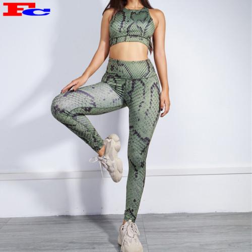 2 Piece Set Women Fitness Wear Snake Prints Private Label Gym Wear