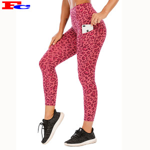 Custom OEM High Waisted Leopard Print With Pockets Wholesale Workout Leggings