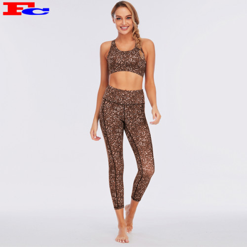 Work Out Apparel Woman Fitness Yoga Set Leopard Sportswear Suppliers