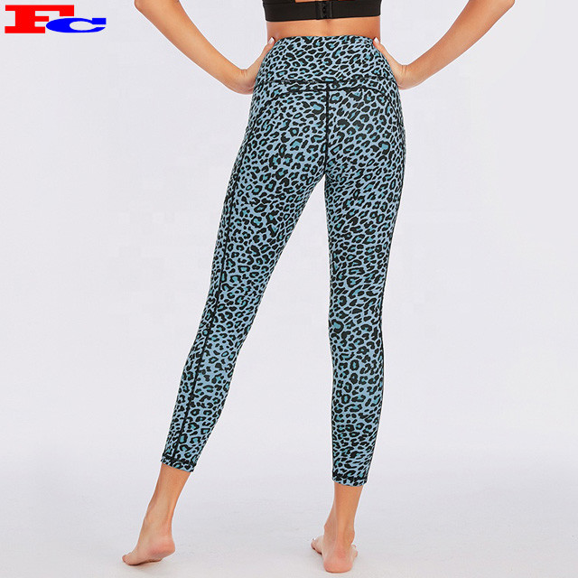 High Quality Leopard Printed Workout Tights Tummy Control Yoga Pants With Pockets