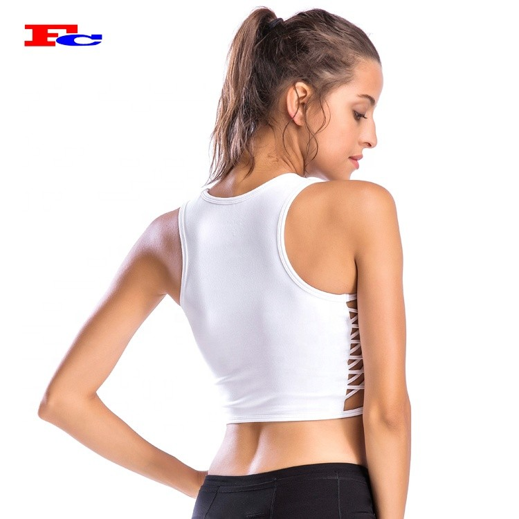 Custom Moisture Wicking Ladies Ribbed Crop Fitness Tank Top With Built In Bra