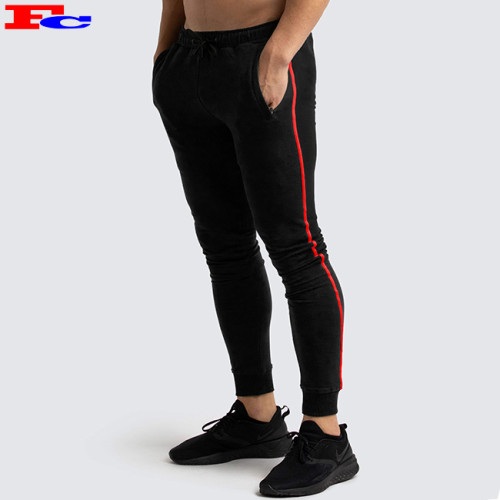 Mens' High Quality Cotton Exercise Gym Black Slim Fit Sweatpant Joggers