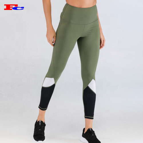 Fengcai Fashion Patchwork Custom Sports Leggings  High Waist Power Flex Yoga Pants For Women