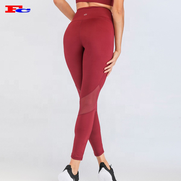 Best Mesh Legging Patchwork Ladies Fitness Yoga Pants Custom Polyester Spandex Tights