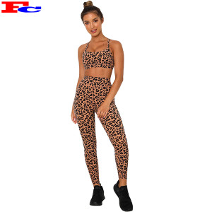 Leopard Printed Fitness Clothes Women  Workout Clothing Sets High Waist Yoga Tights