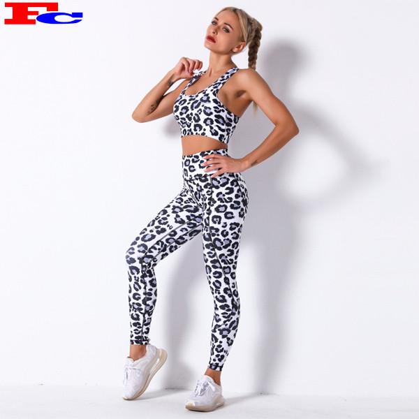 Custom Leopard Printed High Waist Gym Wear Set Fashion Workout Clothes For Women
