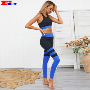 Hot Yoga Workout Clothes Set Wear High Waist Non- Seamless Sports Bra and Leggings
