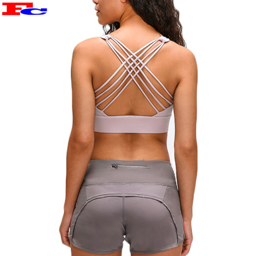Fashionable Sports Bra Yoga Bra Padded Sexy Strappy Back Fitness Bra Tops For Women