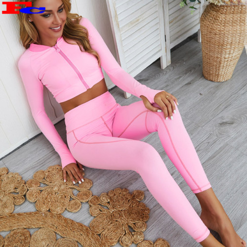 Women Fitness Sport Yoga Jacket And Pants Workout Jacket And Legging Sets