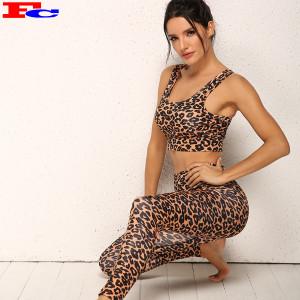 New Fashion Leopard Print Women Yoga Sets Custom Logo Workout Clothes In Bulk