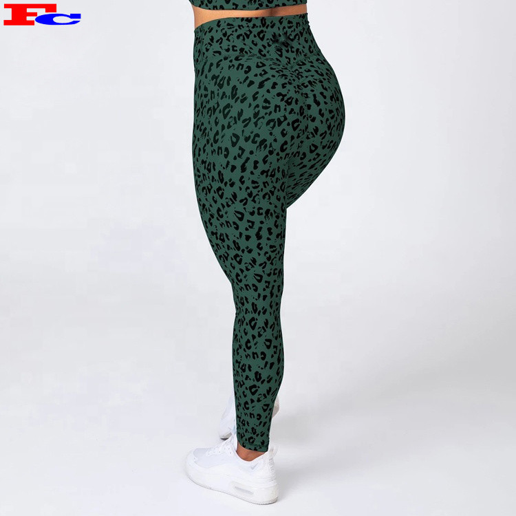 Women High Waisted Green Leopard Printing Leggings Sublimation Fitness Wear Vendors