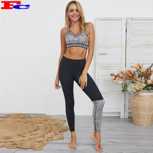 Custom Women Active Wear Set Leopard Yoga Set Fitness Wholesale Clothing