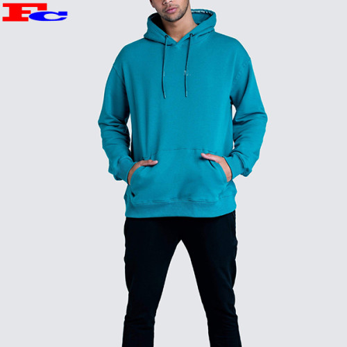 Sportswear Factory China Men's Workout Cotton Embroidery Turquoise Slim Fit Hoodies
