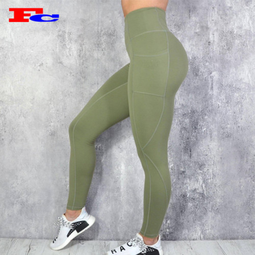 Custom Women High Waist Workout Tights Fitness Leggings Yoga Pants With Pockets Plus Size