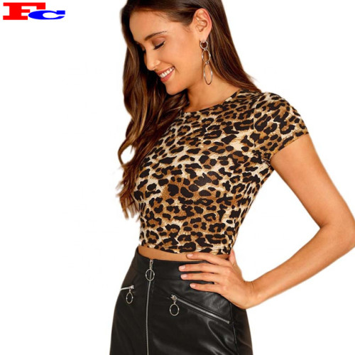 Wholesale Ladies T Shirts Custom Summer Breathable Short Sleeve Sexy Leopard Crop