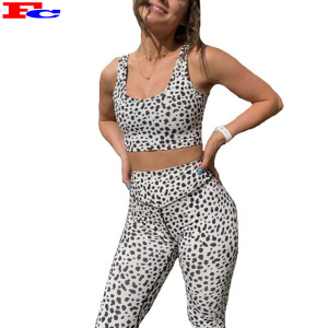Wholesale Activewear Clothing Ladies Leopard Sports Bra Yoga Pants Fitness Workout Set