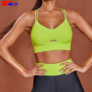 Fluorescent Green Sport Stretchy Gym Bra Top For Women