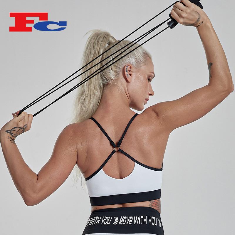 Wholesale Custom Logo Black And White Contrast Color Adjustable Shoulder Strap Gym Bra Crop