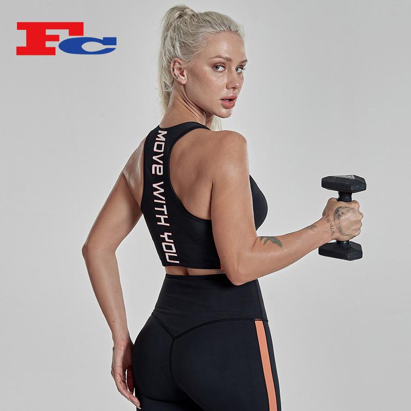 Custom Woman Sportswear Nylon Spandex Sports Athletic Bra Tops With Cups