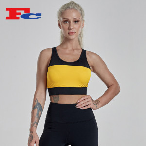 Custom Logo Wholesale Private Label Contrast Stitching Women's Sports Bras In Bulk