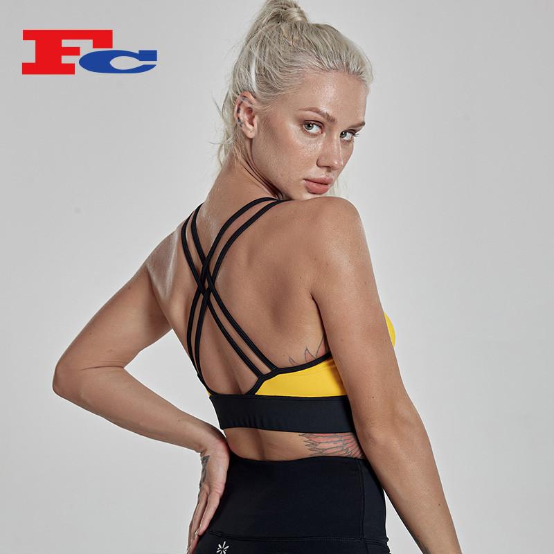 Custom Logo Wholesale Private Label Contrast Stitching Women's Sports Bras In Bulk