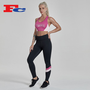 High Quality Custom Women Contrast Stitching Gym Yoga Wear Set Sports Bra Leggings Set
