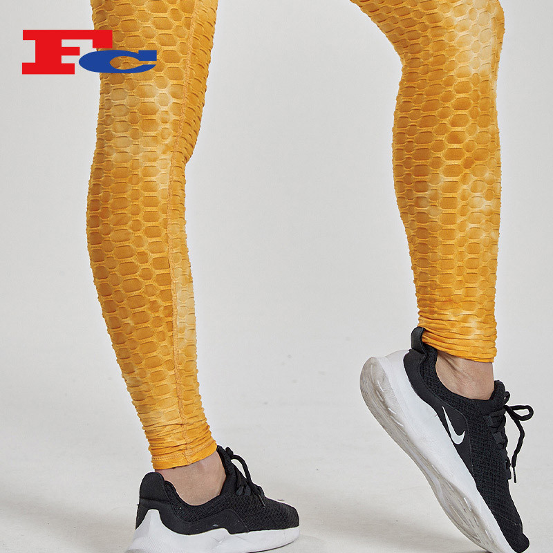 Custom Hip Sublimation Fitness Yoga Tights Jacquard Workout Leggings For Women