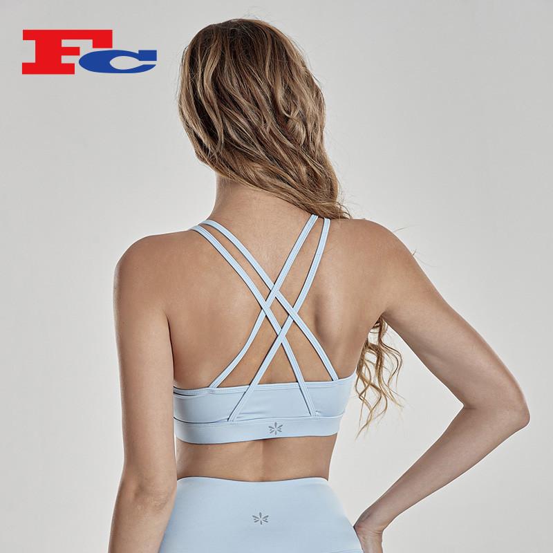 Custom Yoga Wear Strappy Sexy Sports Bras For Women Gym Bra Top