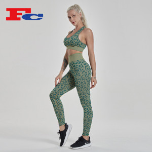 Seamless  Workout Sets Wholesale Leopard Printed Fitness Clothes For Women