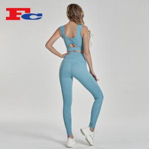 Fengcai Latest Design Twisted Back Sports Bra Sets Trendy Yoga Clothes