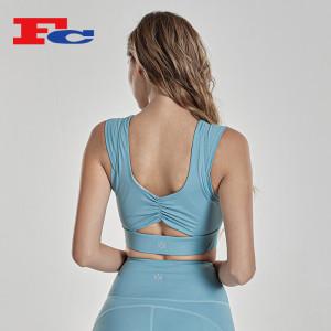 Twisted Back Sport Bra Crop Top Trendy Yoga Bra