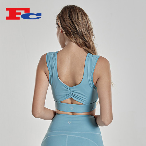 Twisted Back Sport Bra Crop Top Trendy Yoga Bra
