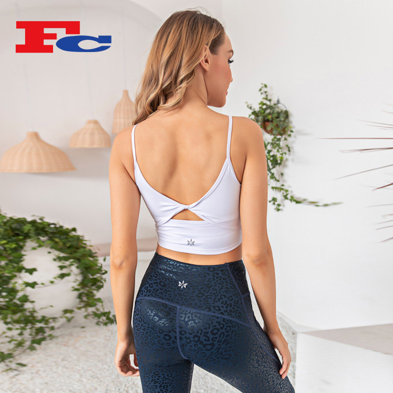Private Label Fitness Apparel Leopard Print Hot Stamping Process Supplier