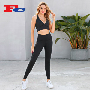 Wholesale Blank Gym Apparel Cross Bra Sets Breathable Mesh Leggings Set