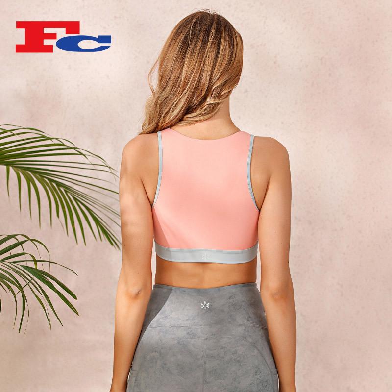 Contrasting Color Front Zipper Sports Bra Wholesale Suppliers