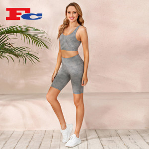Washed Printed Brushed Biker Shorts Set Workout Wear Manufacturers