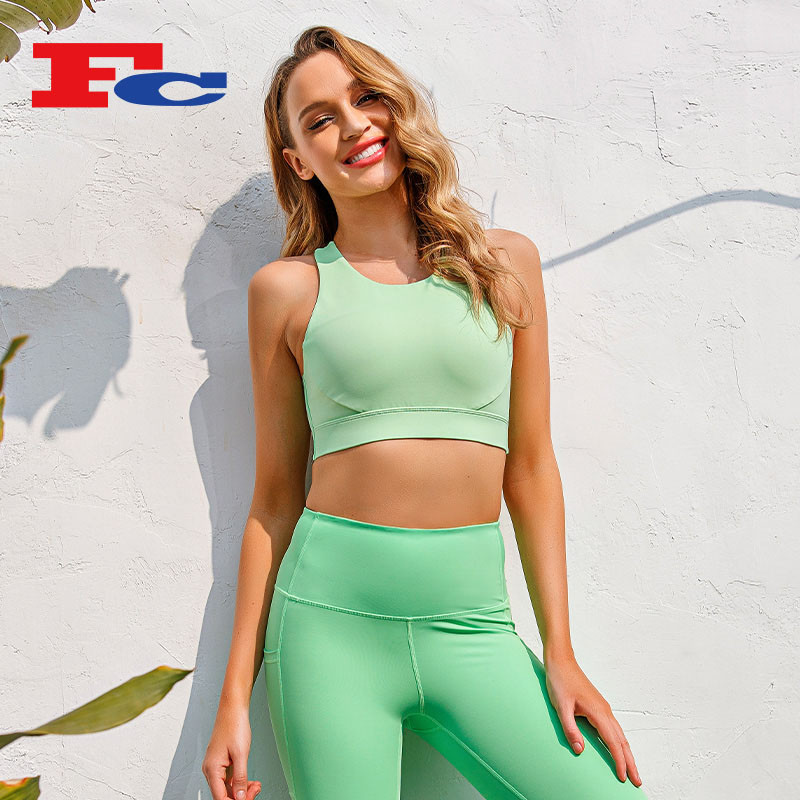 Sports Bra In Bulk Apple Green Strappy Hollow Back--Private Label Services